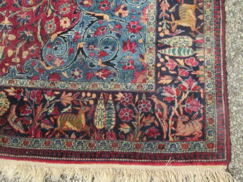 ANTIQUE BIRDS OF PARADISE WOOL RUG W/ A VERY FINE WEAVE & THE FINEST WOOL