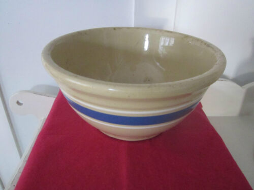 Yellow ware antique bowl. Beige with blue & white bands.