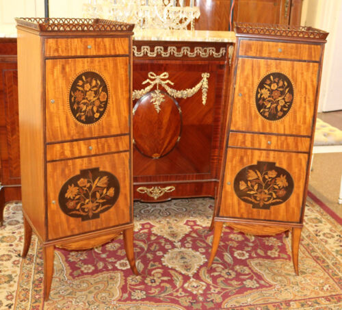 Superb Elaborately Inlaid Plum Pudding Mahogany Side Lingerie Tall Cabinets 1890