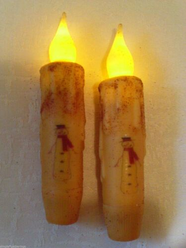 """SNOWMAN TIMER Taper Candles Set of 2 with Red Scarf 4.5"""" Grungy Cream Primitive"""
