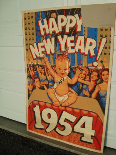 """Vintage Original 1954 Happy New Year Poster 40"""" x 60"""" National Screen Service"""