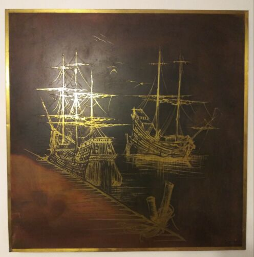 Vtg Signed and Numbered Bijan Brass Wall Hanging Sea Life Ships Nautical Art