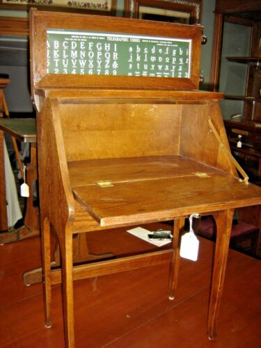 Antique Oak Child's Drop Front Desk with Study Roll: Telegraphic Code ABC's 7912