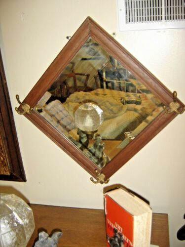 Antique Oak Diamond Shaped Beveled Mirror with 3 Hooks. 8379