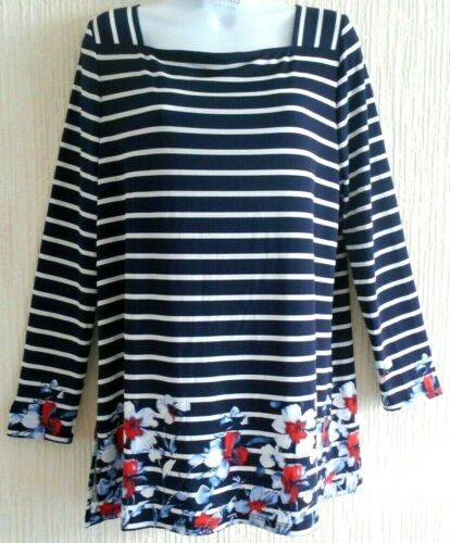 Susan Graver Striped Liquid-knit Tunic-Top- Navy/White- Med-14