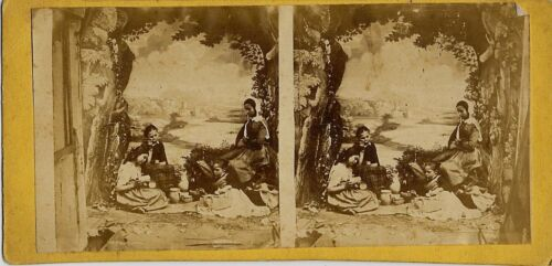 Cool Picnic - Sloppy Photographer's Studio Stereoview!!