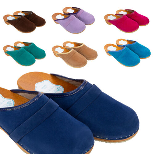 Womens Suede Clogs 100% Natural Leather Hand Made Shoes Wooden Sole 3-8 UK D1