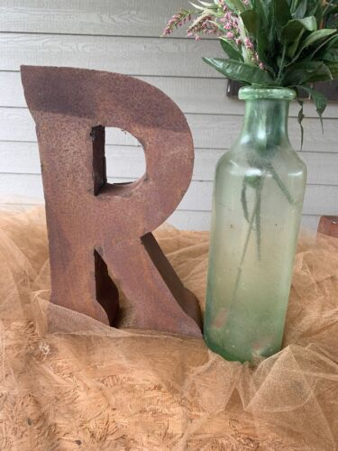 "14""  Recycled Rusty Metal Letter ~R~ Industrial- Farmhouse"
