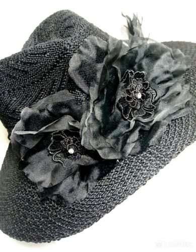 REDUCED BY $20 Fedora Hat Black Fascinator Hatinator Diamonte Lace Melbourne Cup