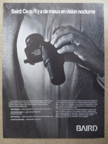 1983 PUB BAIRD LUNETTE VISION NOCTURNE NIGHT VISION GOGGLE NVG FRENCH AD