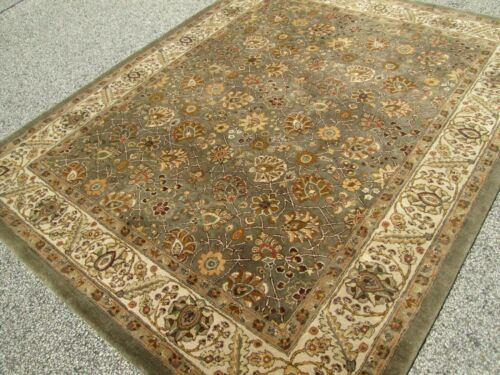 DESIGNERS KAIMURI-SULTAN 100% WOOL PILE CARPET 7.6 x 9.6  A PEWTER GRAY FIELD