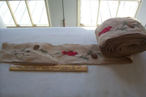Vtg Wired Burlap Ribbon 11.5 yards Red Birds on Limbs with Pine Cones