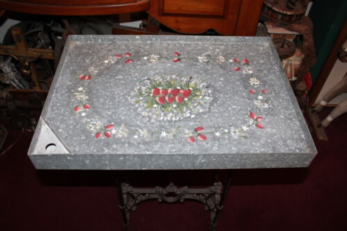 Antique Galvanized Metal Seed Tray Painted Strawberries Country Folk Art Barn