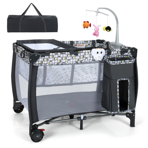 All In 1 Foldable Travel Cot Baby Crib Playpen Bassinet Portacot w/ Carry Bag