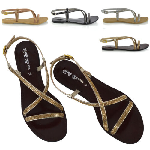 New Womens Diamante Strappy Sandals Flat Ladies Holiday Casual Party Shoes Size