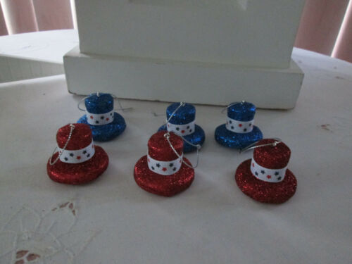 "6- 1.25""  Patriotic Red & Blue Glitter Hat Ornaments w/White Bands -4th of July"