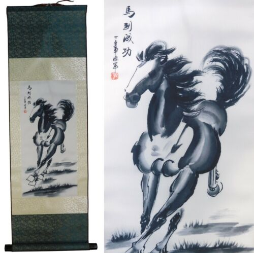Chinese Horse on Silk Scroll Wall Hanging New (SSC-Horse-S)