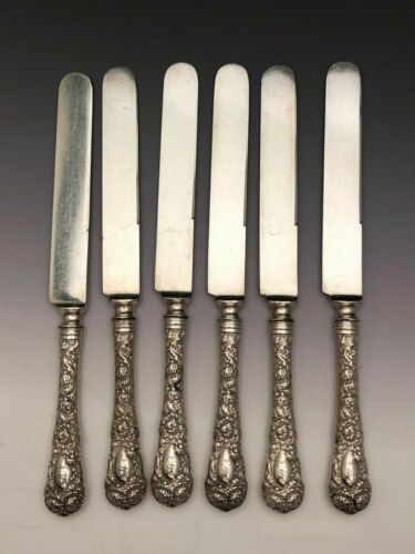 "Chrysanthemum by Durgin Sterling Silver group 6 Lunch Knives 8.5"", mono S"