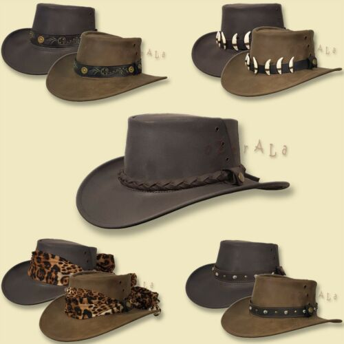 ~oZtrALa~ HAT Australian BUFFALO Leather OUTBACK Men's Ladies Band Cowboy JACARU