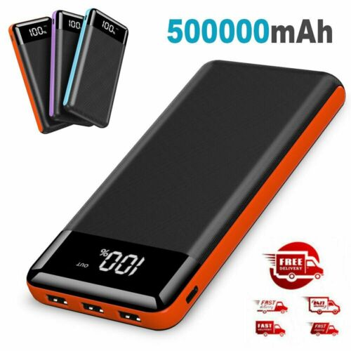 500000mAh 3 USB Power Bank Portable LCD LED Battery Charger Pack for Cell Phone