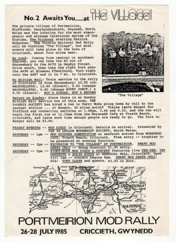 """1985 UK Flyer: """"Mod Rally"""" In """"THE VILLAGE"""" [""""The Prisoner"""" TV Series Location]"""
