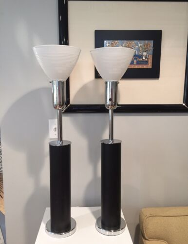 Art Deco Walter Von Nessen Tall Chrome & Black Leather Table Lamps