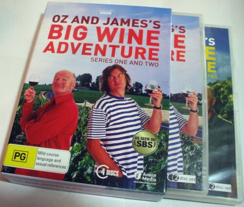 Oz & James's Big Wine Adventure series one & two - 4 disc boxed R4 DVD - Posted