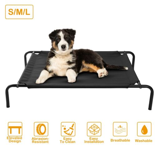 Dog Cat Bed Elevated Pet Cot Indoor Outdoor Camping Steel Frame Mat Washable