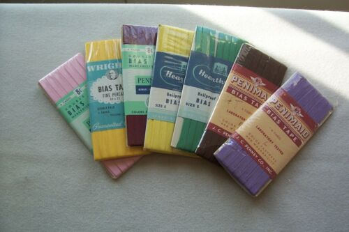 7 Vtg Lot Cards Cotton Bias Tape Seam Binding Antique Sewing Project Dolls