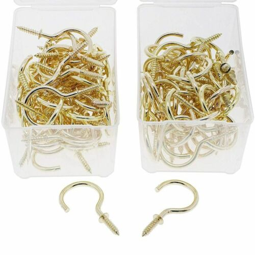 Genie Crafts 100 Pack 45mm Gold Metal Screw In Hooks For Wall Hanging Plant Hats