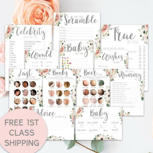 BABY SHOWER GAMES- BOHO Floral Unisex Favours Predictions Who Knows Mummy Best..