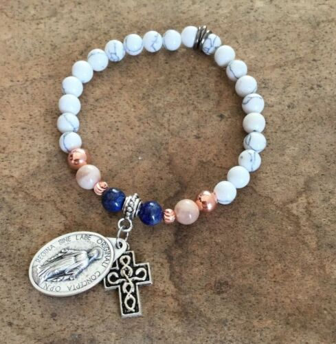 Religious Miraculous  Bracelet Howlite Moonstone and Lapis Rose/Gold 8mm Beads