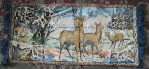 Tapestry Wall Hanging DEER FAMILY in SNOW COVERED WOODS 19 x 41