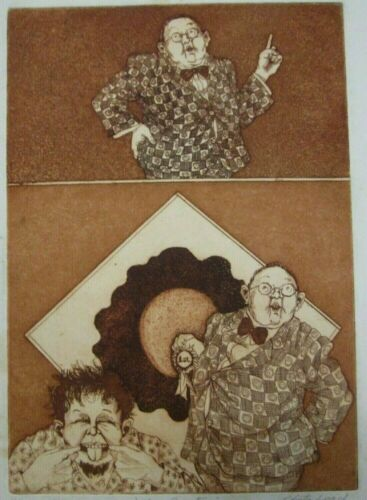 """ROBERTA LOACH ETCHING """"THE CURATOR"""" SIGNED> DATED 1970 > EDITION SIZE 4/25"""