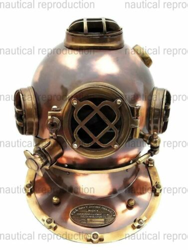 "Nautical Collectible Antique Copper Brass ""US NAVY MARK V"" Divers Diving Helmet"