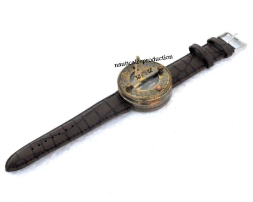 Antique Steampunk Wrist Brass Compass & Sundial-Watch Vintage With Leather Strap