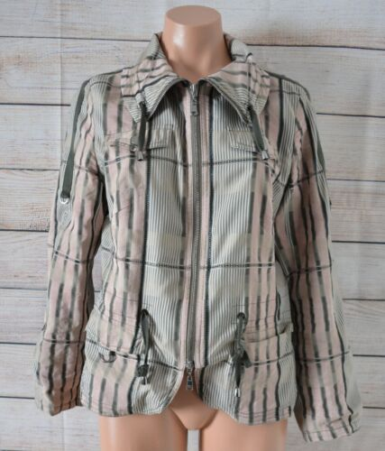 Basler Zip Front Jacket Size 12 Pink Grey Brown Check Striped Long Sleeve
