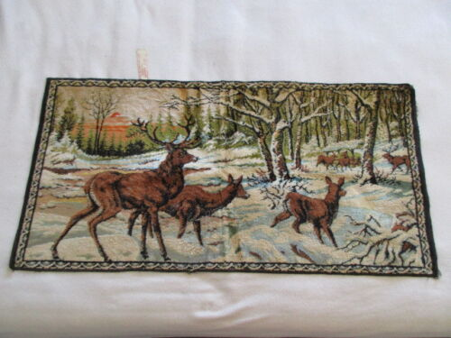 Vintage Tapestry - White Tailed Deer - Buck - Doe - Fawn - ITALY - 39 x 19