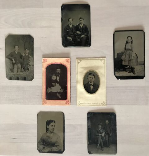 ANTIQUE CIVIL WAR ERA SET (7) RARE TINTYPE CABINET PHOTO CARD PHOTOGRAPH PICTURE
