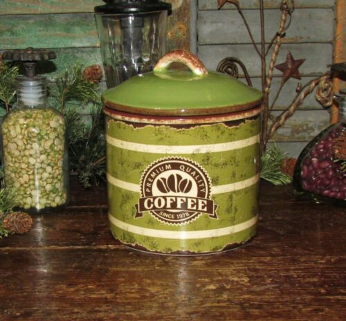 Primitive Antique Vtg Tin Can Style Coffee Canister Stoneware Ceramic Crock ASIS