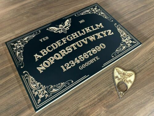 Black Decorative Moth Ouija Board With Planchette. Carved in Wood. 500mm x 325mm