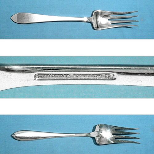"""TIFFANY & CO STERLING 8 7/8"""" SERVING FORK ~ FANEUIL ~ MONO S"""