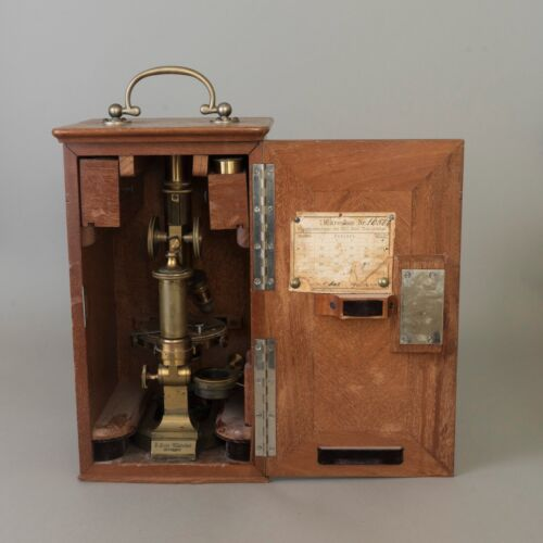 Antique Brass Ernst Leitz Wetzlar Microscope 1890 Model 16500 Oak Carrying Case