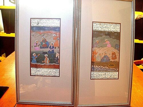 Pair Fantastic Antique Asian Arabic Paintings On Paper With Script