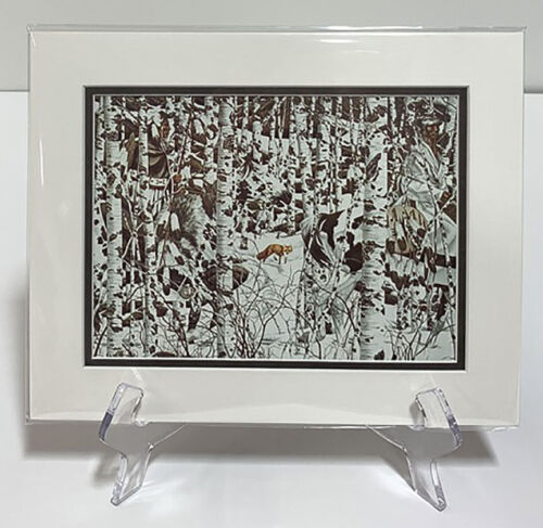 Bev Doolittle WOODLAND ENCOUNTER Double Matted Fits A standard 8x10 ready frame