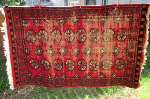 3 x 5 Foot Antique Vintage Worn Distressed Red Wool Hand Knotted Turkoman Rug