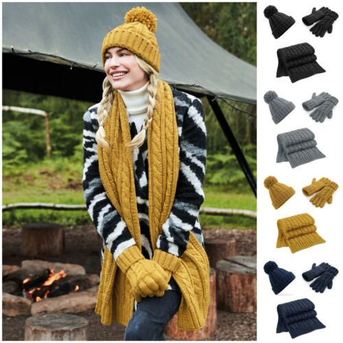 Hat Scarf and Gloves Glove Set Knitted Gift Super Soft Cable Knit Ladies Mens