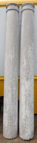 """TWO (2) Impressive 95"""" Tall Half-Round Antique Columns Posts Old White Paint"""