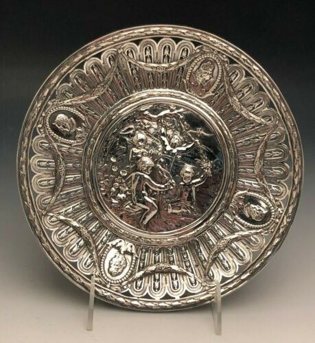 Fancy European Silver Tray with Cherubs and Busts, 800 fine Silver, German?