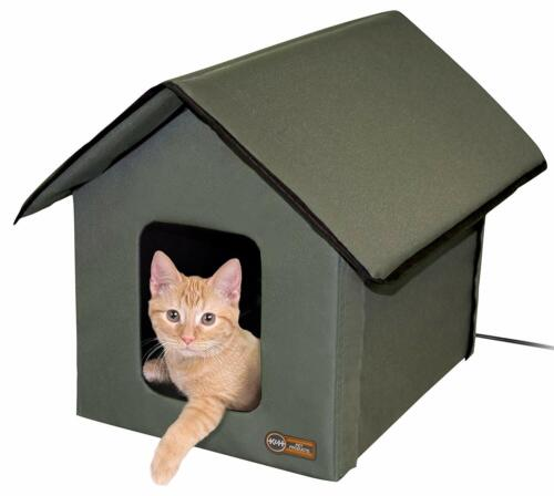 KH Outdoor Heated or Unheated Cat House Weatherproof Insulated Pet Kitty Shelter